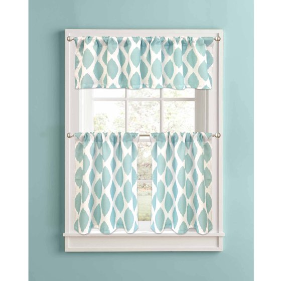 Better Homes And Gardens Kitchen Curtains: Better Homes And Gardens Aqua Ikat Diamonds Kitchen