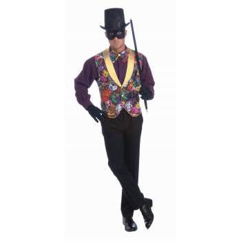 MARDI GRAS VEST & BOW TIE (Mardi Gras Harlequin Costume)