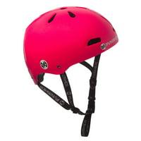 Premium Youth 13-vent Metallic Flake Neon Hot Pink Dual Safety Certified BMX Bike and Skateboard Helmet, Size Medium