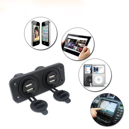 12V Car Boat Accessory Socket Panel 4 USB Charger Power Adapter