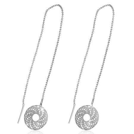 - CLEARANCE  - Edgy Spiral Graphix Disc Silver Thread Earrings Silver