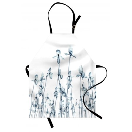 Flower Apron X-ray Photo of a Group of Orchids Bottom to Top Rare Unseen Art in Complex Nature, Unisex Kitchen Bib Apron with Adjustable Neck for Cooking Baking Gardening, Teal White, by Ambesonne
