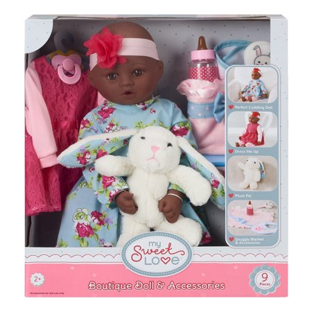 """My Sweet Love 18"""" Doll and Accessories Set with Plush Bunny, African American"""