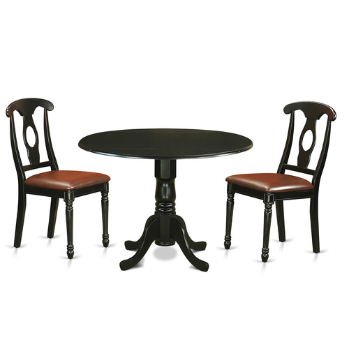 Charlton Home Gloucester 3 Piece Drop Leaf Solid Wood Dining Set
