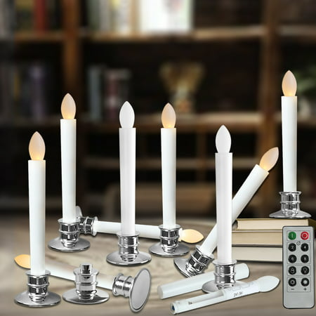 Flameless Taper Candles (Flameless Taper Candles Electric Window White Candles with Removable Holders LED Christmas Timer Candles Wedding Party Decoration Silver Base 2/6/10pcs )
