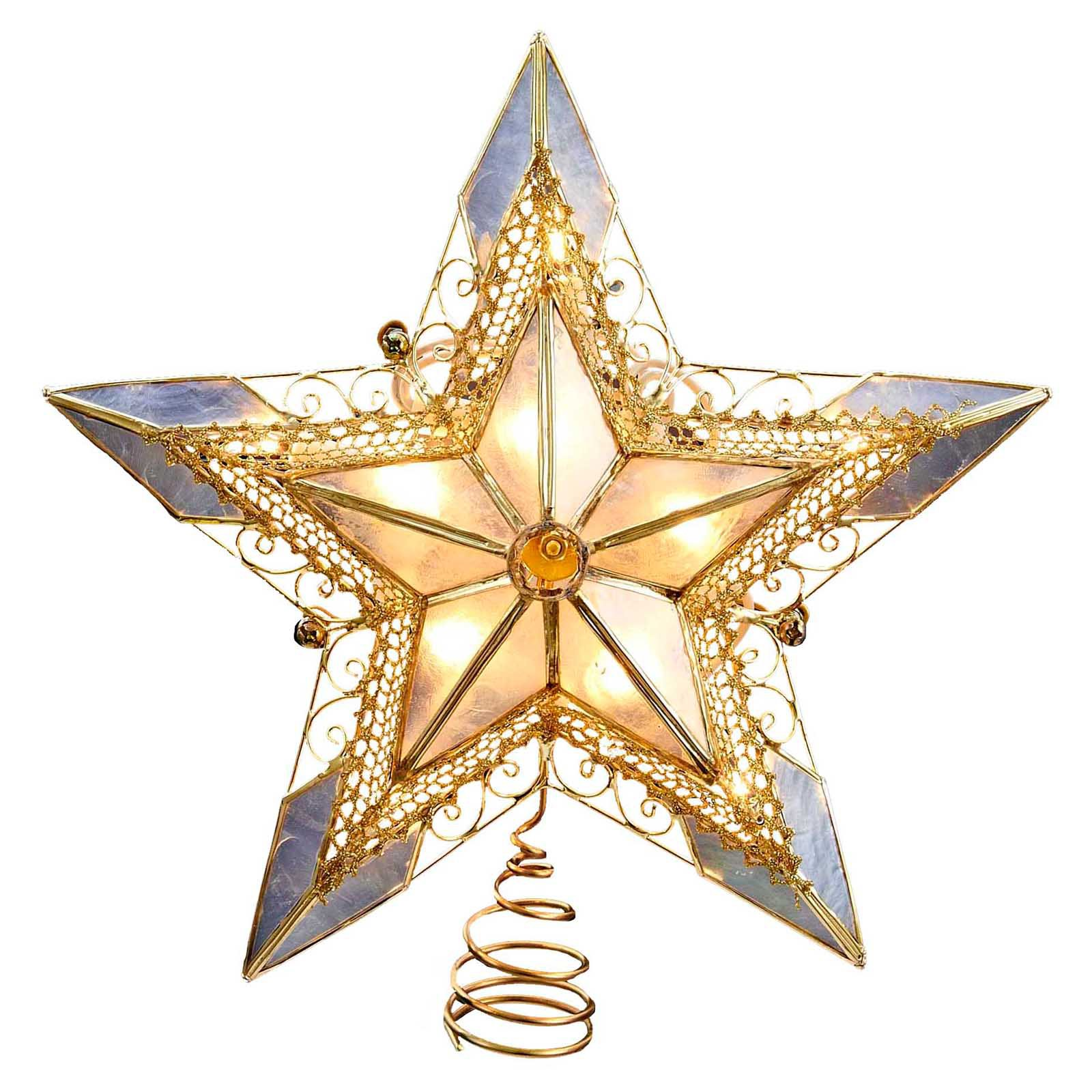 Kurt Adler Capiz Lace Star Tree Topper