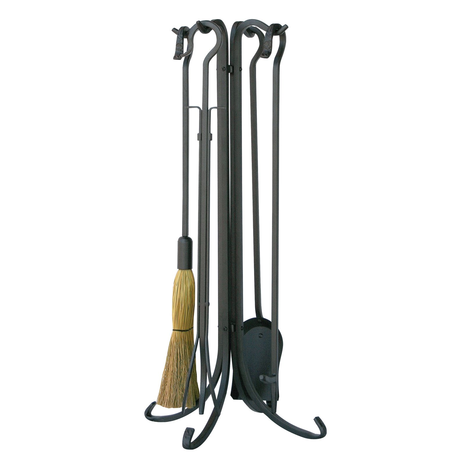 Uniflame 5-Piece Iron Fireplace Tool Set Crook Handles by UniFlame