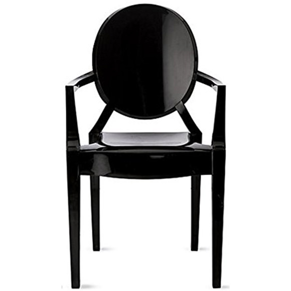 2xhome Black Modern Contemporary Ghost Chairs Chair With Arms Molded Acrylic Plastic Mirrored Furniture Dining Retro For Writing Desk Dining Living Bedroom Outdoor Office Table Vanity Accent