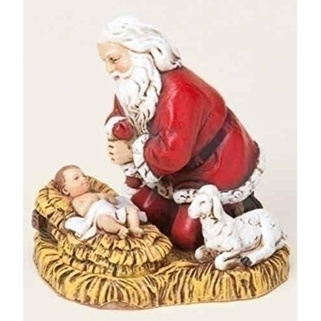 roman joseph's studio kneeling santa with bIy jesus christmas ornament
