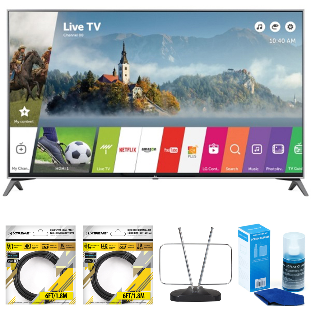 """LG 60"""" Super UHD 4K HDR Smart LED TV 2017 Model (60UJ7700) with 2x General Brand 6ft High Speed HDMI... by LG"""