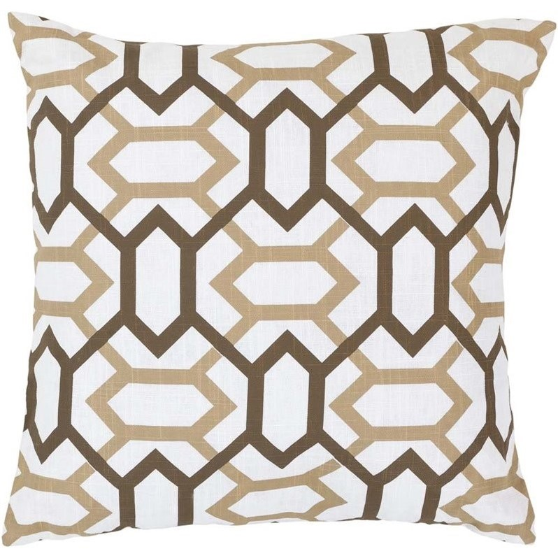 """Surya Zoe Poly Fill 22"""" Square Pillow in Brown"""