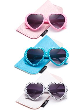 Newbee Fashion-Kids Heart Sunglasses Girls Heart Shaped Sunglasses with Polka Dots Cute Vintage Look UV Protection w/Carrying Pouch