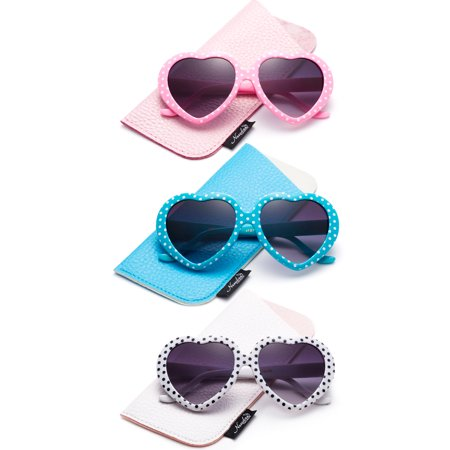 Newbee Fashion-Kids Heart Sunglasses Girls Heart Shaped Sunglasses with Polka Dots Cute Vintage Look UV Protection w/Carrying Pouch](Star Shaped Sunglasses)