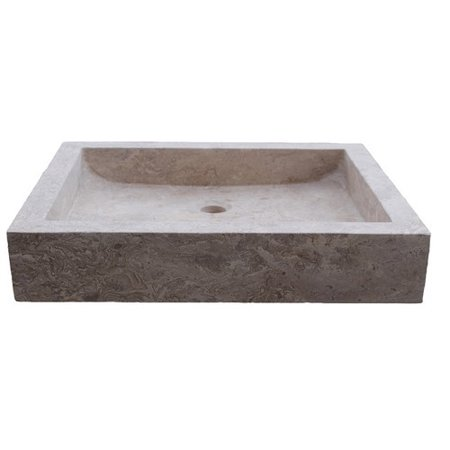Angled Sink : TashMart Angled Flow Rectangular Natural Stone Vessel Bathroom Sink ...