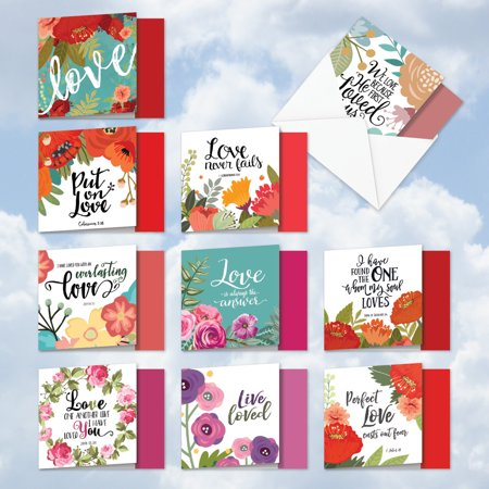 10 Assorted Valentine's Day Notecard Set with Envelopes](Big Valentines Day Cards)