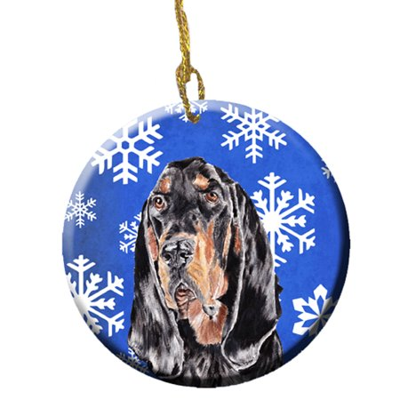 Black and Tan Coonhound Winter Snowflakes Ceramic Ornament