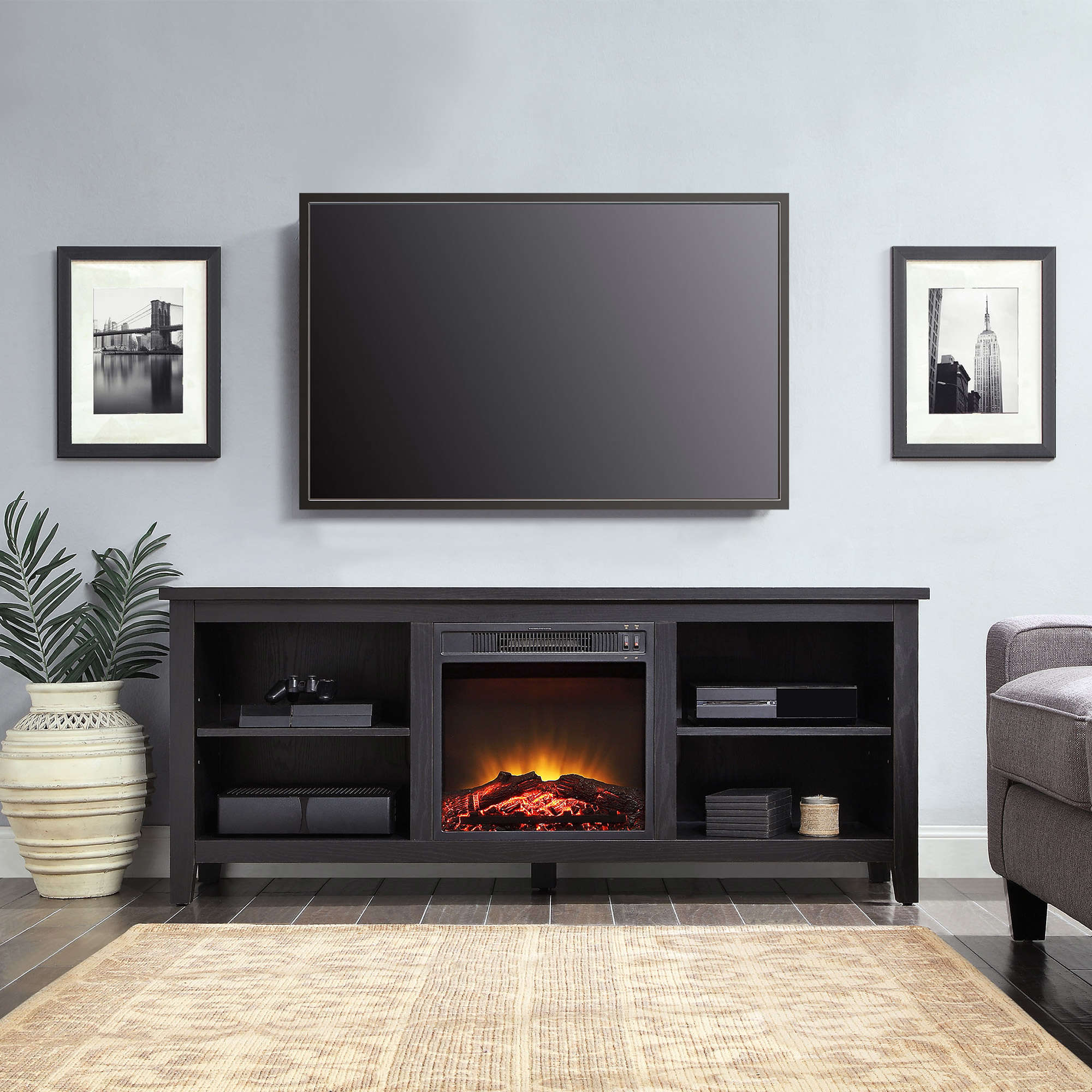 """TV Stand Fireplace 70 inch Flat Screen Entertainment Media Home Center Console Mainstays Media Fireplace for Flat Panel TVs up to 70"""""""
