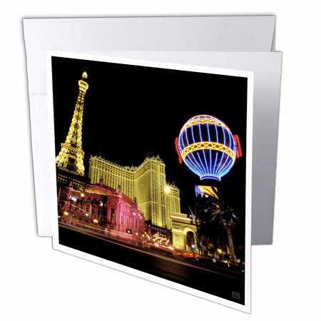 3dRose Paris Hotel and Casin at Las Vegas Strip United States, Greeting Cards, 6 x 6 inches, set of (37789 Roses)