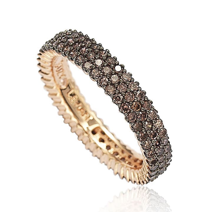 Rose Sterling Silver Micro-Pave Brown Cubic Zirconia Eternity Band