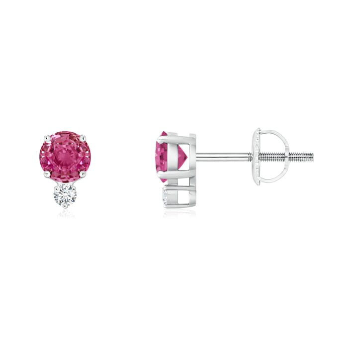 Angara Basket-Set Pink Tourmaline Stud Earrings with Diamond in White Gold