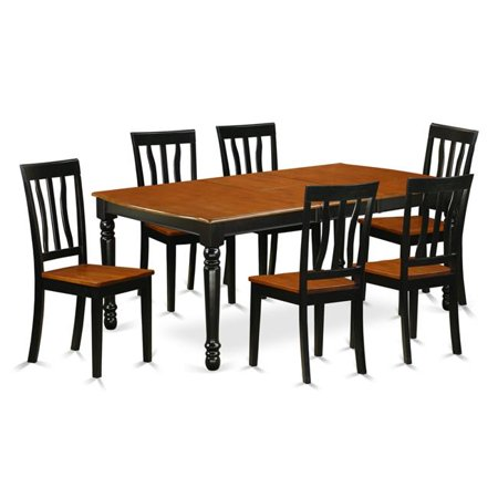 Strange East West Furniture Doan7 Bch W 7 Piece Table And Chair Set With One Dover Dining Room Table And 6 Dining Room Chairs In A Black And Cherry Caraccident5 Cool Chair Designs And Ideas Caraccident5Info