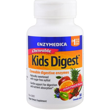 Enzymedica  Kids Digest  Chewable Digestive Enzymes  Fruit Punch  60 Chewable