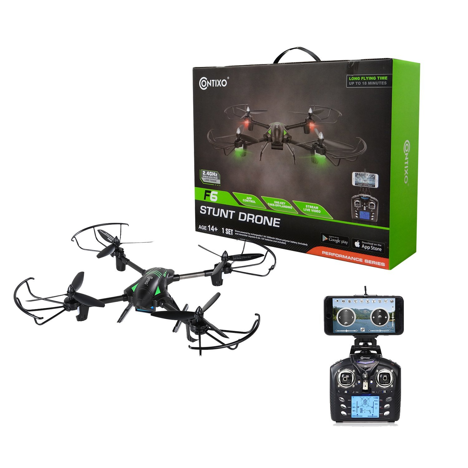 Contixo F6 RC Quadcopter Racing Drone 2.4Ghz 6-Axis Gyro with 720P Rotating HD Camera, FPV... by Contixo