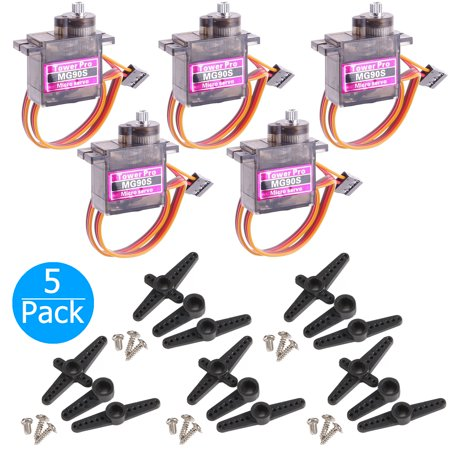 5-pack MG90S Mini Digital Servo Metal Geared Micro Servo Motor for RC Helicopter Plane Boat Car