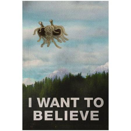 Flying Spaghetti Monster Emblem - Flying Spaghetti Monster I Want To Believe Poster