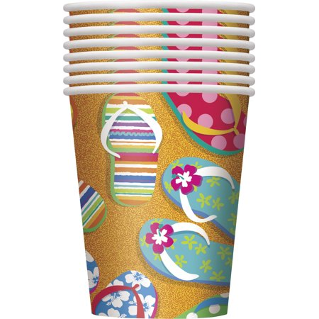 Unique Flip Flop Summer Fun Tropical Luau Party 9oz Paper Cups, Orange, 8 CT - Luau Party Food Menu