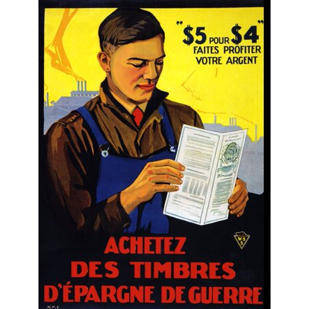 Poster showing a young factory worker in overalls holding a Canada War Savings Certificate booklet Poster Print by -