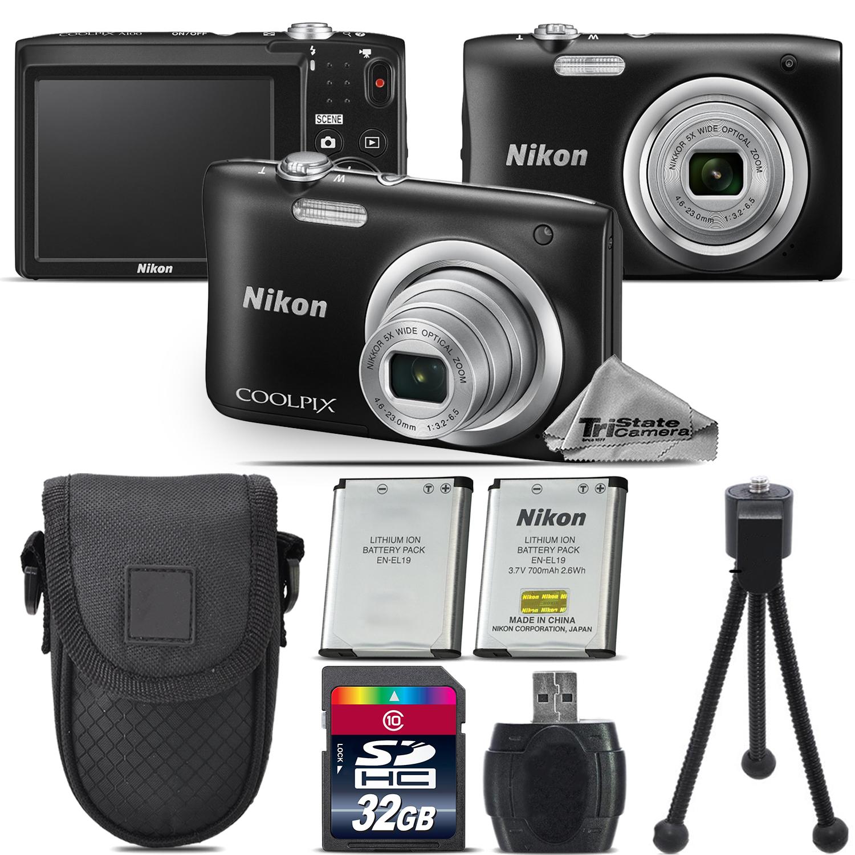 Nikon Coolpix A100 20.1MP Digital Camera Black 5x Optical Zoom - 32GB Kit Bundle
