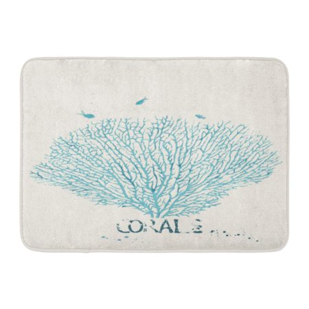 SIDONKU Blue Sea of Fan Coral Pattern Life Reef Fish Drawn Doormat Floor Rug Bath Mat 23.6x15.7 inch ()