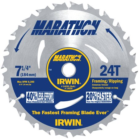 Irwin Marathon Portable Corded Circular Saw Blades, 7 1/4 in, 24 Teeth