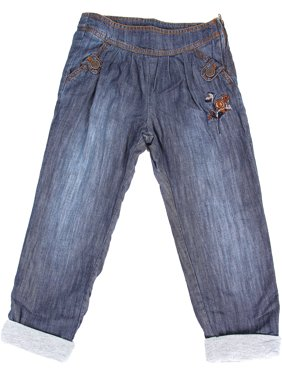 Richie House Girls' Classic Jeans with Embroidered Rose RH120124
