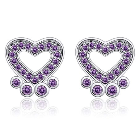 Paw Prints Sterling Silver Choice of Black Clear Purple CZ Stud Dog Earrings Ginger Lyne Collection