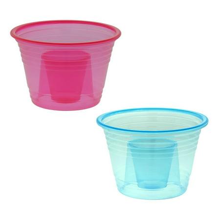 50-assorted Neon Colors Disposable Plastic Party Bomber Power Bomber Jager Blaster Bomb Glasses Shot Glass Red & Blue Shot (Bieber Glasses)
