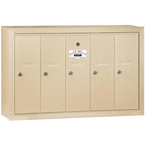 Salsbury Industries Vertical Mailbox, 5 Doors, Surface Mounted, USPS Access