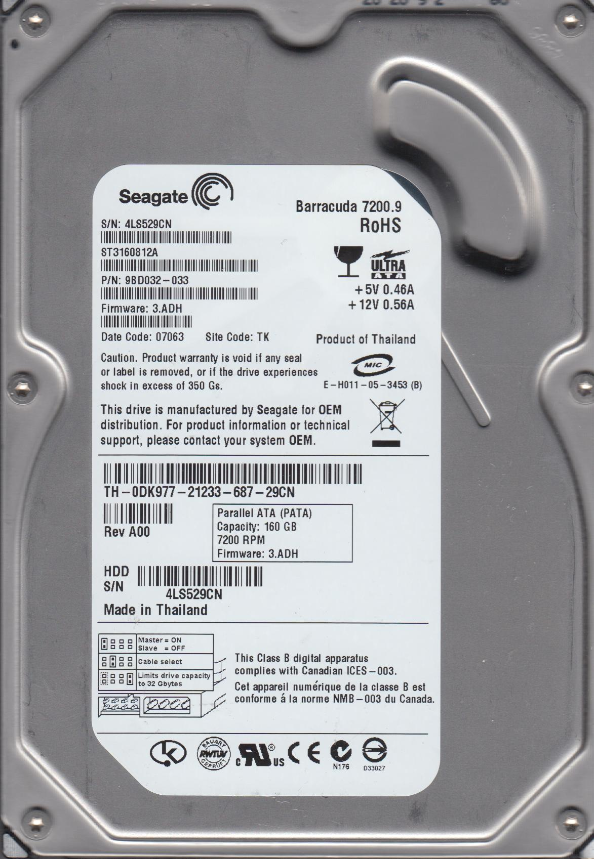 ST3160812A, 4LS, TK, PN 9BD032-033, FW 3.ADH, Seagate 160GB IDE 3.5 Hard Drive by Seagate