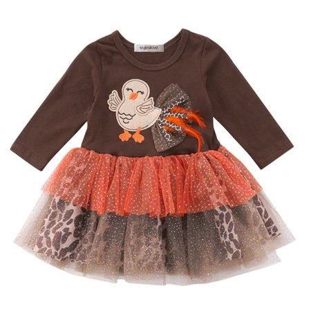 0febd0dba StylesILove - Baby Toddler Girl Brown Long Sleeve with Turkey Applique Tutu  Dress Thanksgiving Outfits (60/3-6 Months) - Walmart.com