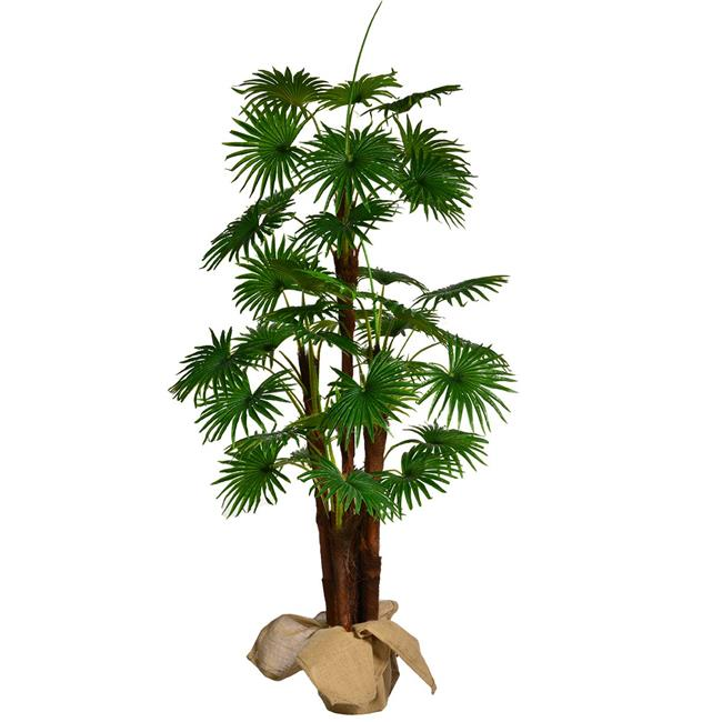 """66"""" Tall Fan Palm Tree Artificial Indoor/ Outdoor Faux Décor with Burlap Kit By Minx NY"""