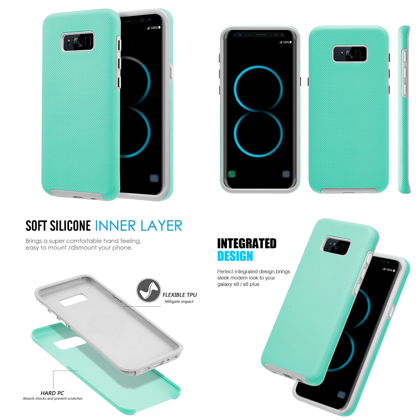 MUNDAZE Teal Mint EZPRESS Double Layered Case For Samsung Galaxy S8 Phone