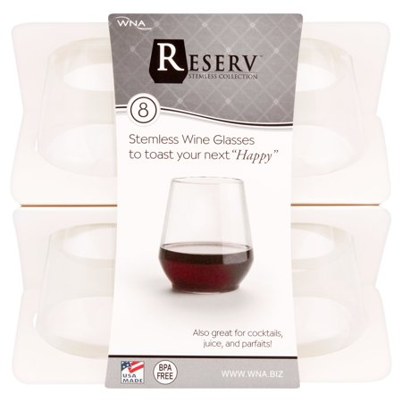 Reserve Plastic Stemless Plastic Wine Glasses, 8 count for $<!---->