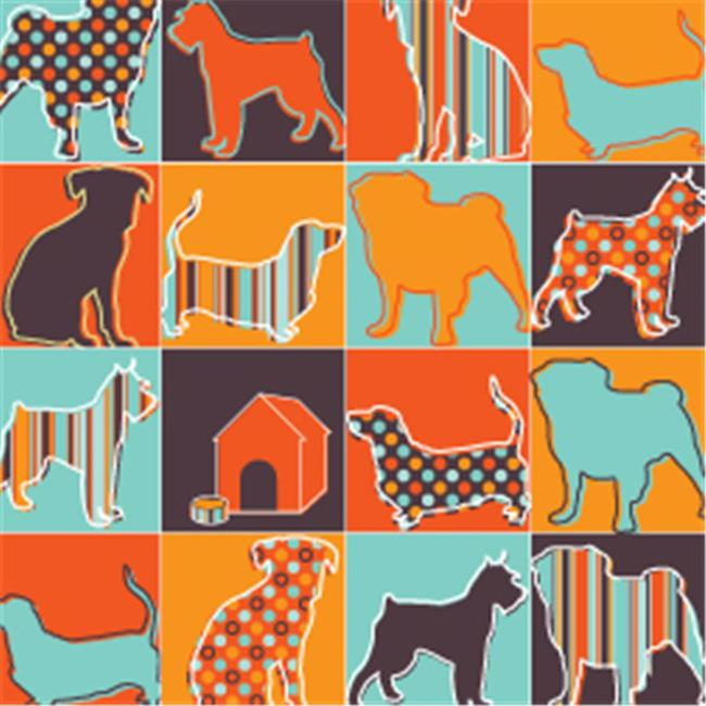 Pet Party Printz ED00214 Pattern Silhouettes Gift Wrap - Pack of 4 Rolls