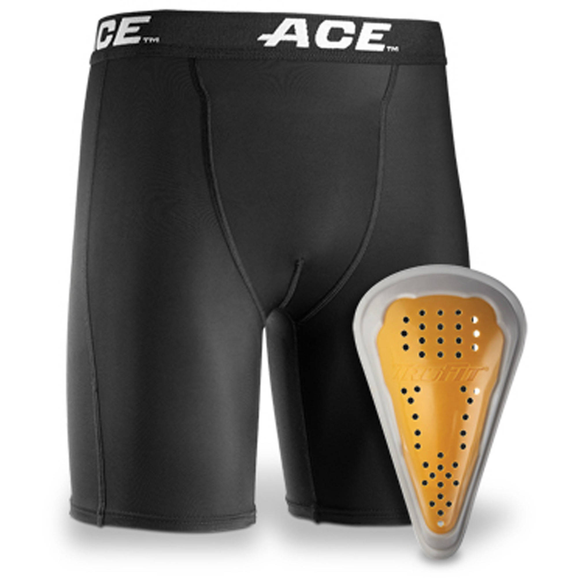 ACE Compression Shorts and Cup, Youth, Small/Medium, Black, 1/pack