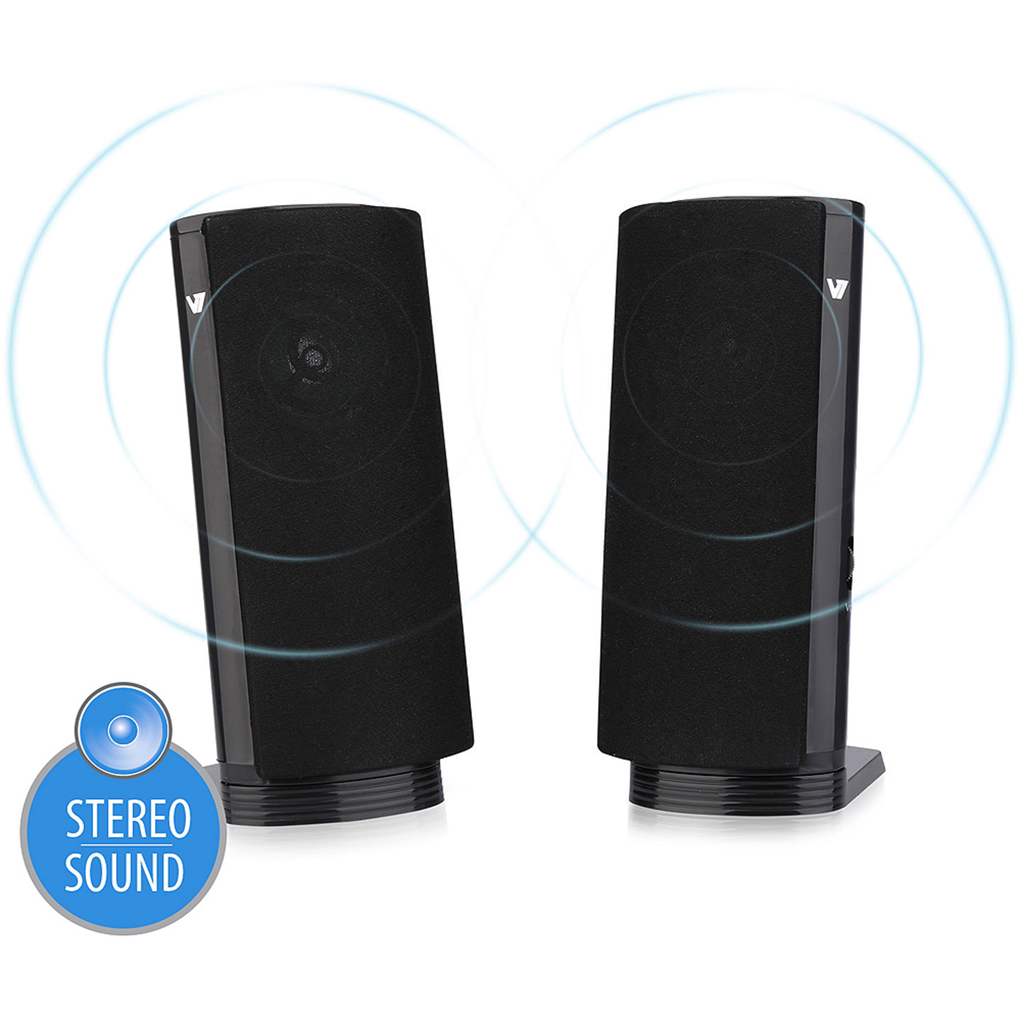 V7 USB-Powered Stereo 2.0 PC Speaker for Laptops and Desktops
