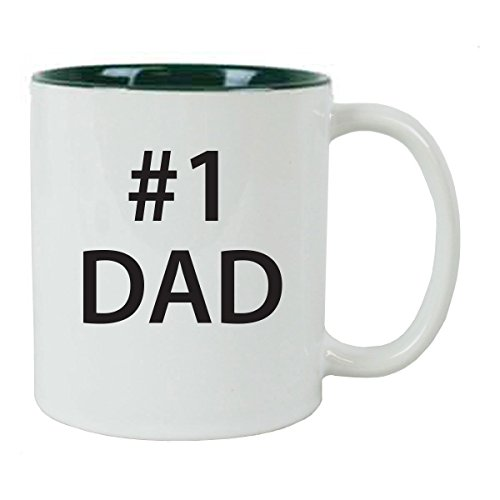 #1 Dad 11 oz White Ceramic Coffee Mug (Green) with Gift Box - Great Gift for Father's Day, Birthday, or Christmas Gift for Dad, Grandpa, Grandfather, Papa, Husband