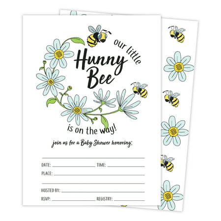 Bee 3 Bumble Bee Baby Shower Invitations Invite Cards (25 Count) With Envelopes & Seal Stickers Vinyl Girl Boy - Bumble Bee Invitations