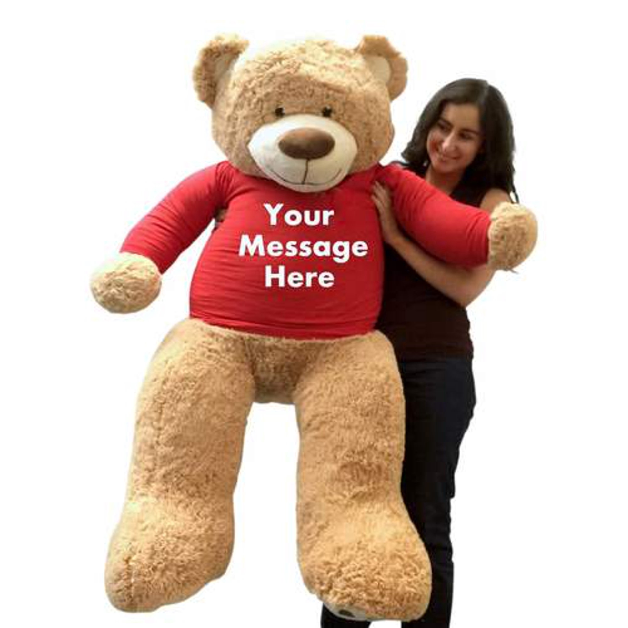Red Teddy Bear 5 Feet, Personalized Big Plush 5 Foot Giant Teddy Bear Wearing Customized Red Color T Shirt With Your Message Walmart Canada