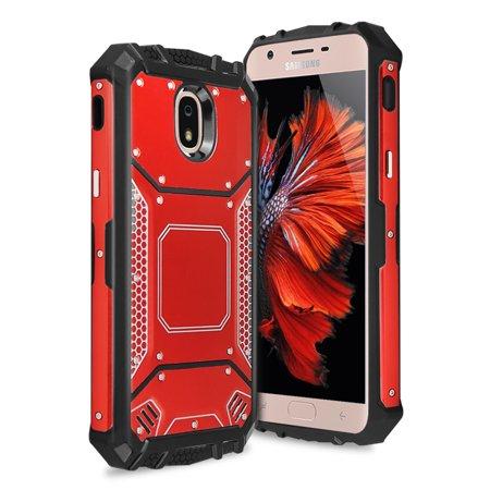 TJS Galaxy J7 2018/J7 Refine/J7 Star/J7 Eon/J7 TOP/J7 Aero/J7 Crown/J7 Aura/J7 V 2nd Gen Case, Aluminum Magnetic Support Rugged Armor Hybrid Shockproof cover - Red Aluminum Top Case